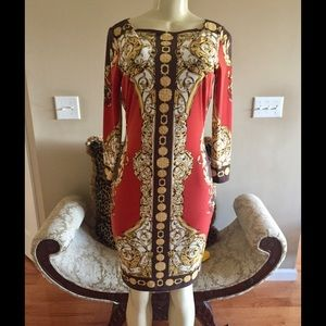 Caché Sz. 4 Red/Gold/Brown Pattern Dress